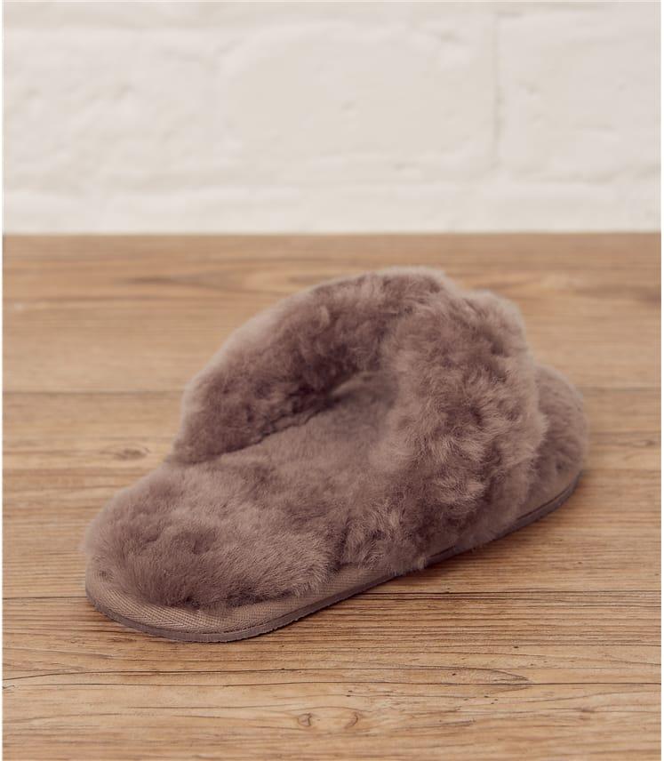 Pantoufles tongs luxeuses - Femme - Peau de mouton