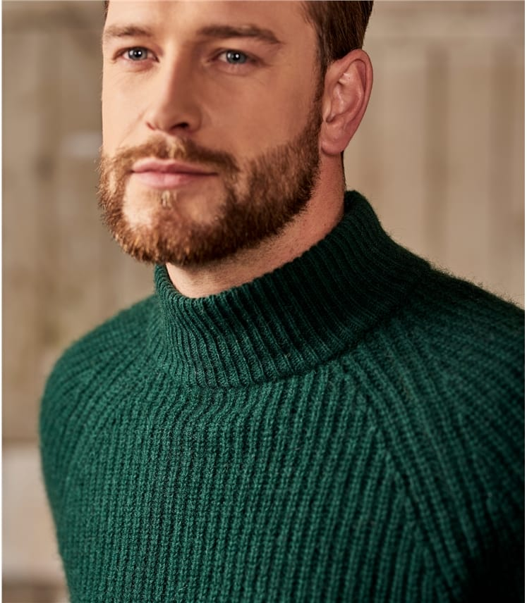 Mens Wool Blend Heavy Rib Turtle Neck Jumper
