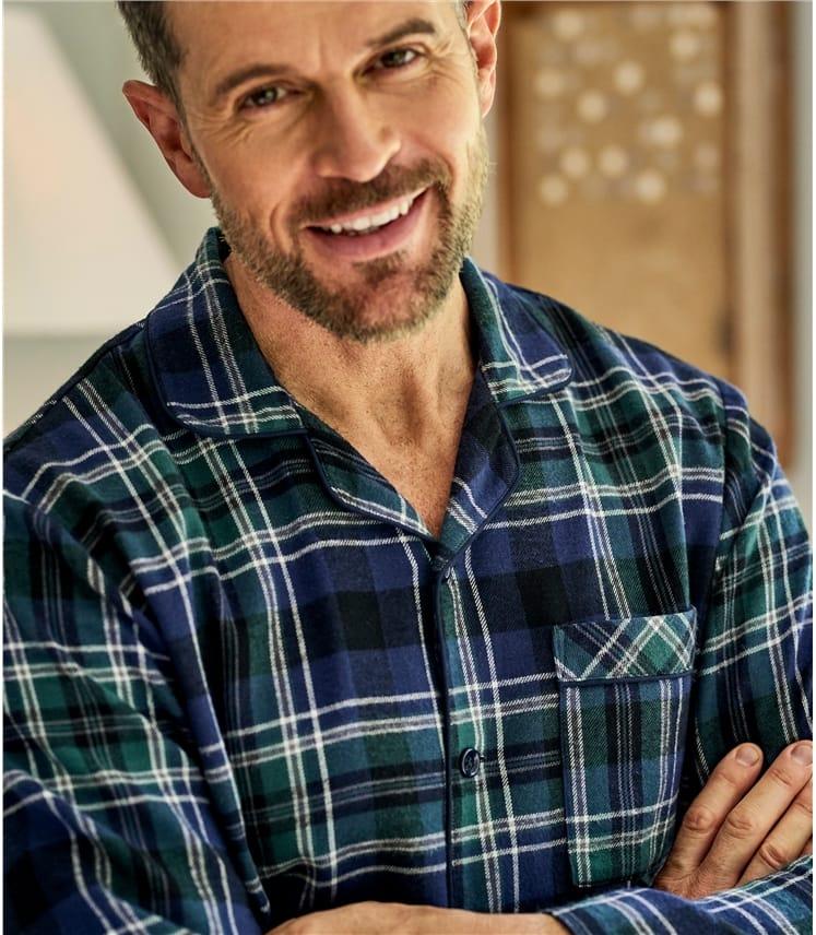Mens Cotton Woven Check Pyjama Shirt