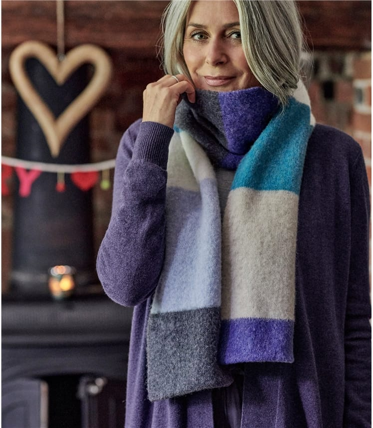 Womens Lambswool Fluffy Colourblock Scarf