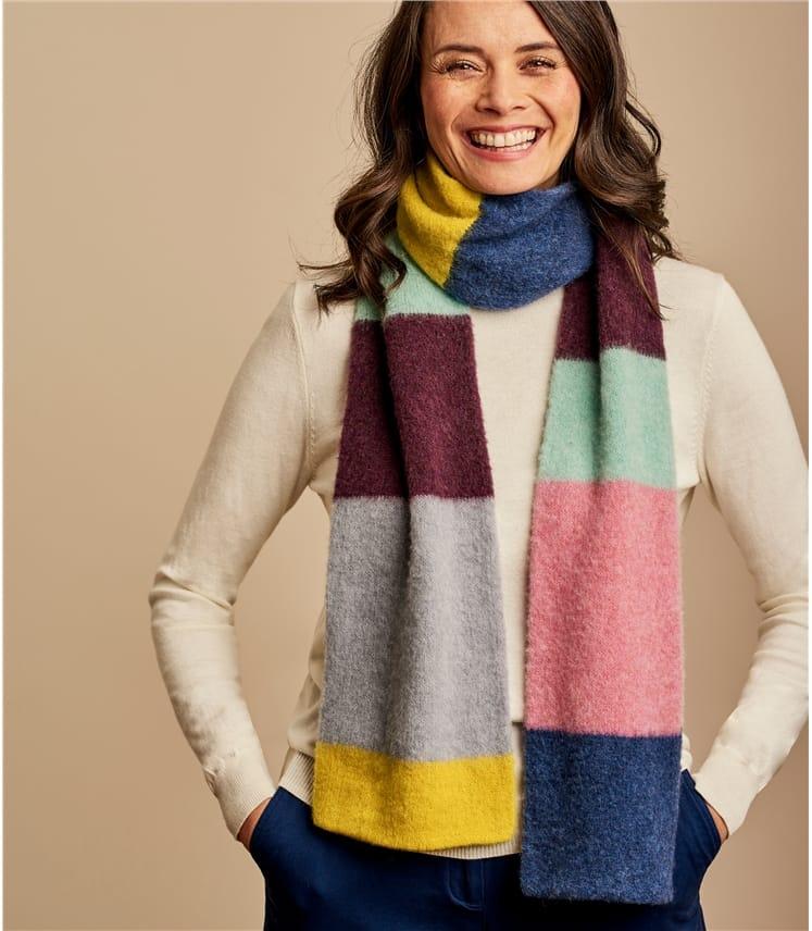 Flauschiger Schal mit Colourblock aus Lammwolle für Damen