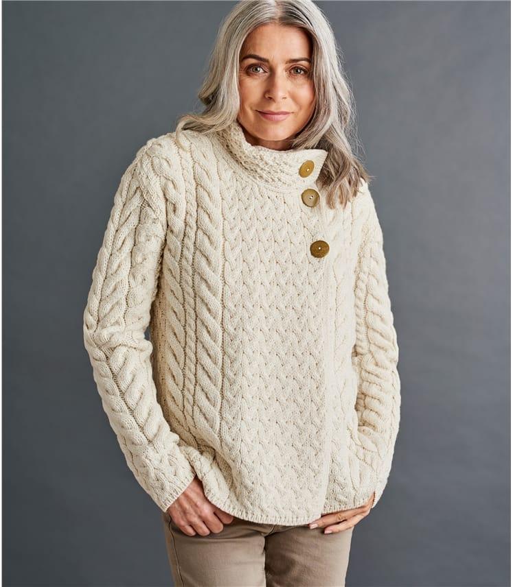 Womens Merino Super Soft Cable Button Cardigan