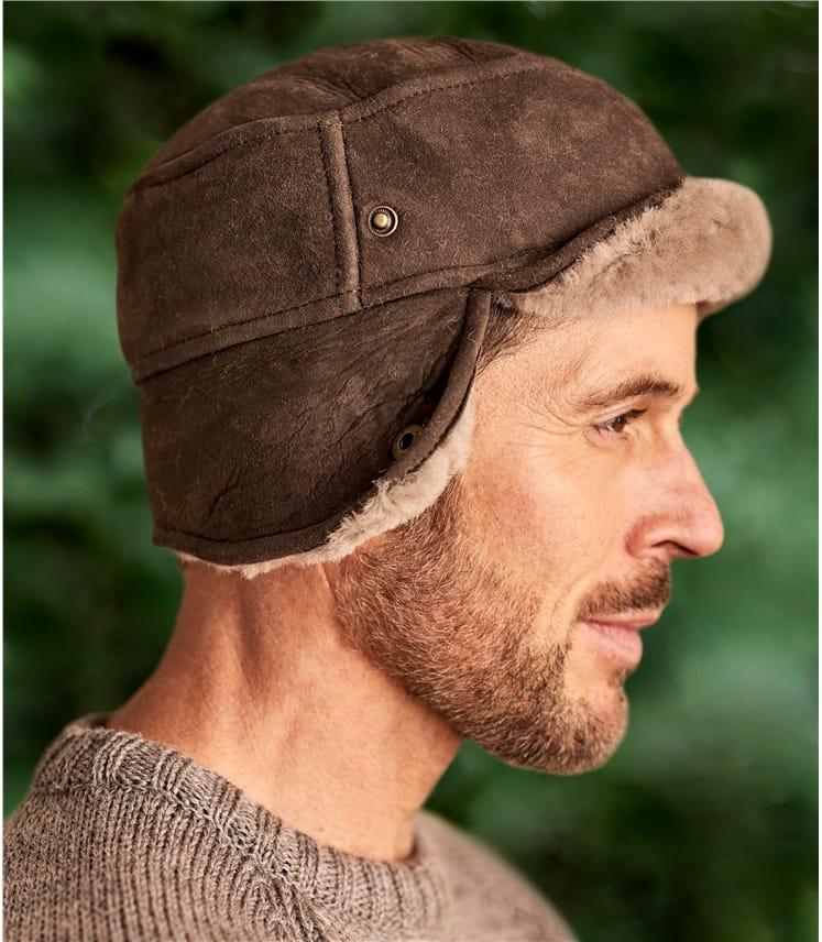 Mens Sheepskin Hunters Hat