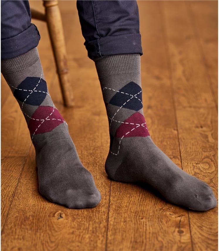 Mens Pima Cotton Argyle Sock