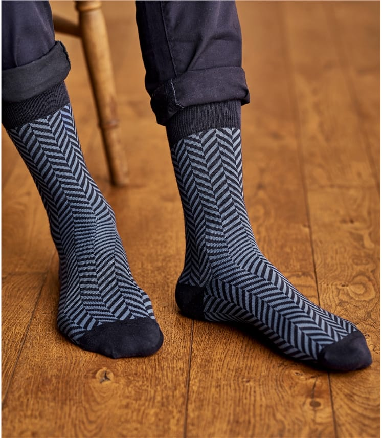 Mens Pima Cotton Herringbone Sock