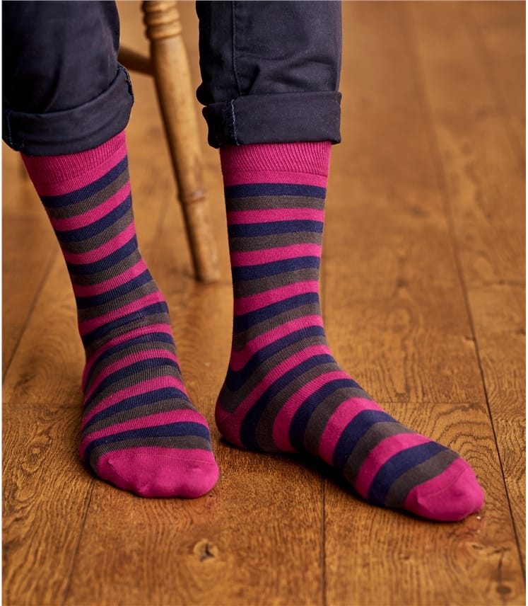 Mens Pima Cotton Stripe Sock