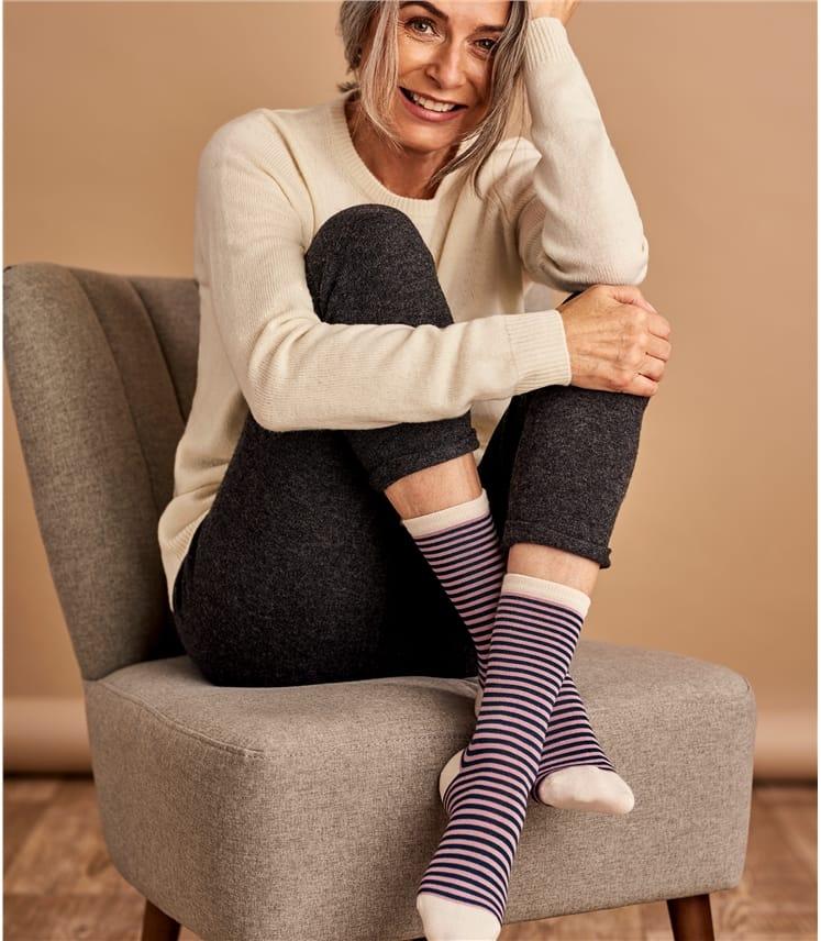 Chaussettes à rayures - Femme - Bambou mélangé