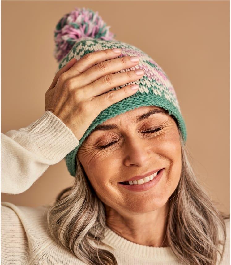 Womens Wool Chunky Fairisle Bobble Hat