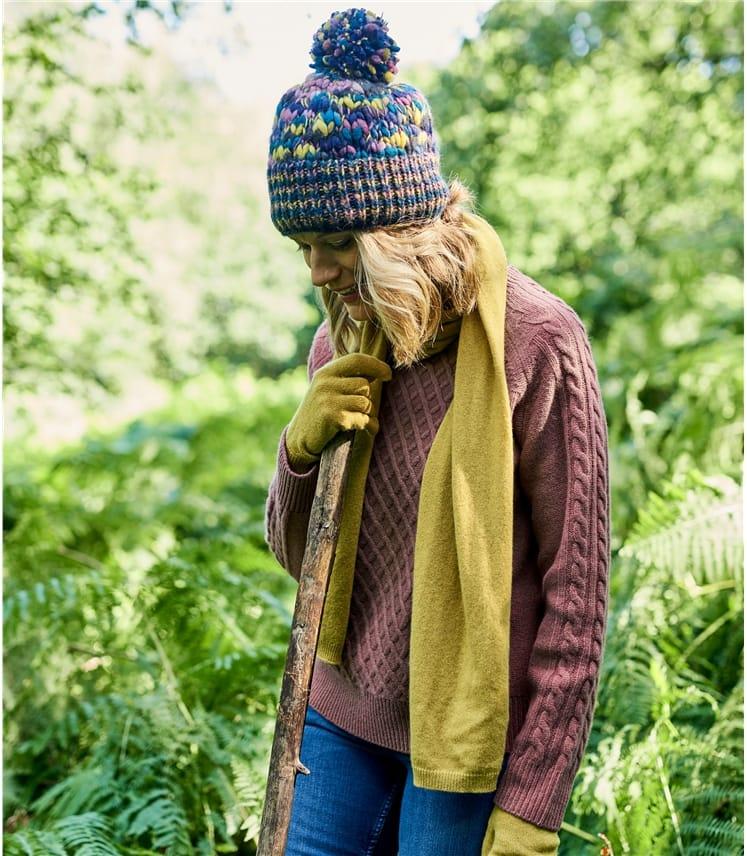 Womens Wool Super Chunky Multi Knit Hat