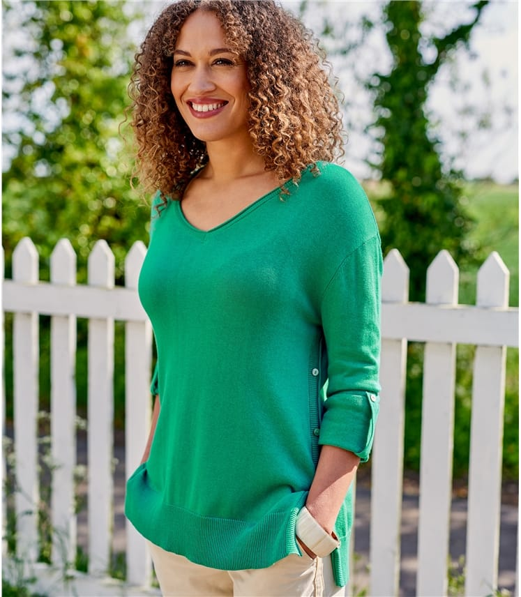 Womens Button Side V Neck Sweater