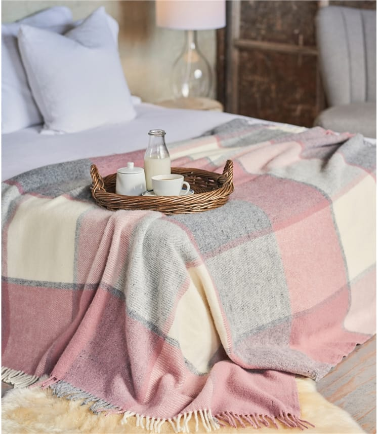 Pure New Wool Block Check Throw