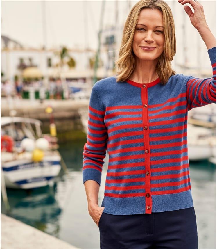 Womens Breton Stripe Cardigan