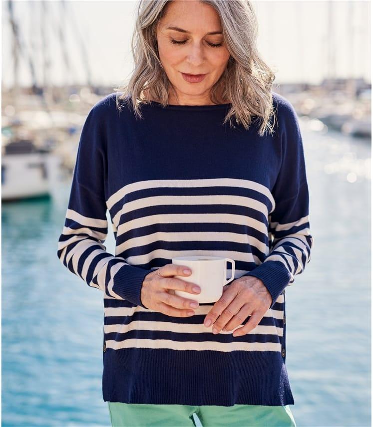 Womens Breton Stripe Dropped Shoulder Sweater
