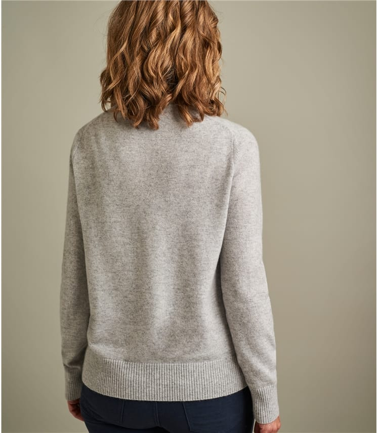 Womens Luxurious Pure Cashmere Crew Neck Cardigan