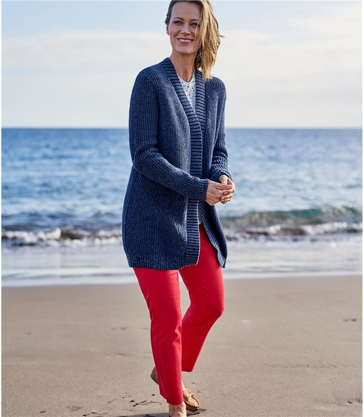 Womens Pure Cotton Edge To Edge Cardigan