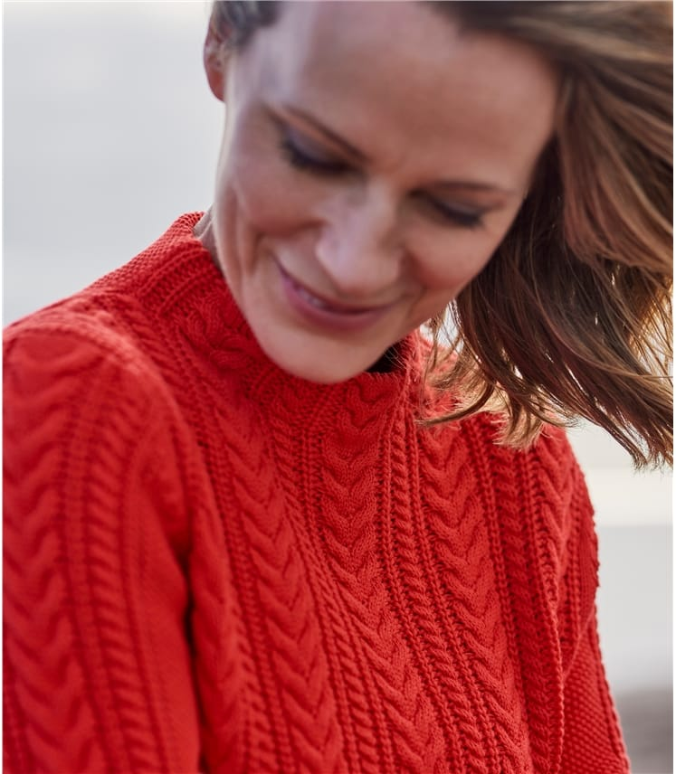 Womens Cotton Cable Mock Neck Jumper
