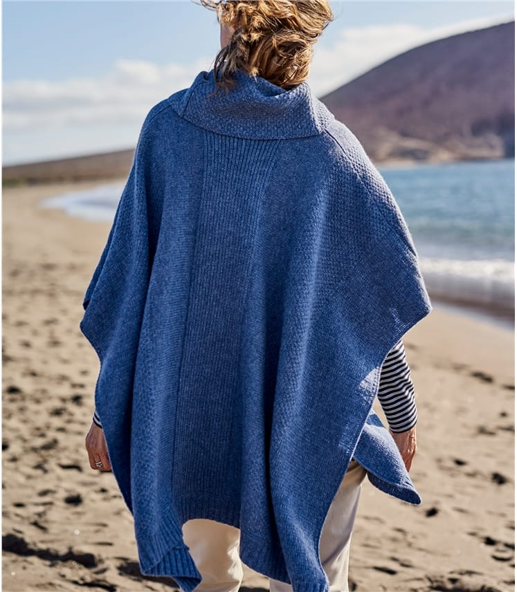 Womens Lambswool Textured Stitch Poncho