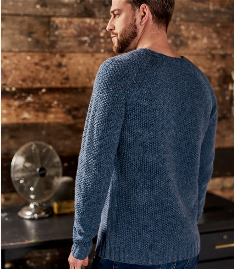 Mens Lambswool Moss Stitch Sweater