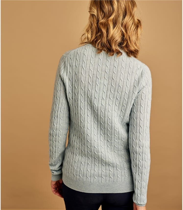 Womens Cashmere Merino Cable Crew Neck Jumper