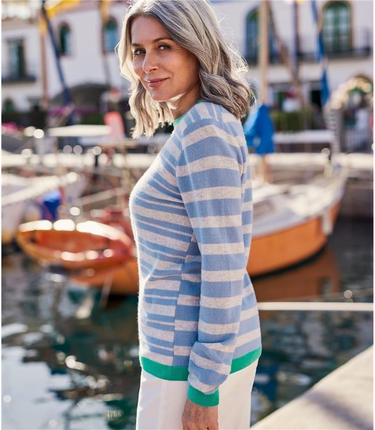 Womens Cashmere Merino Offset Stripe Jumper
