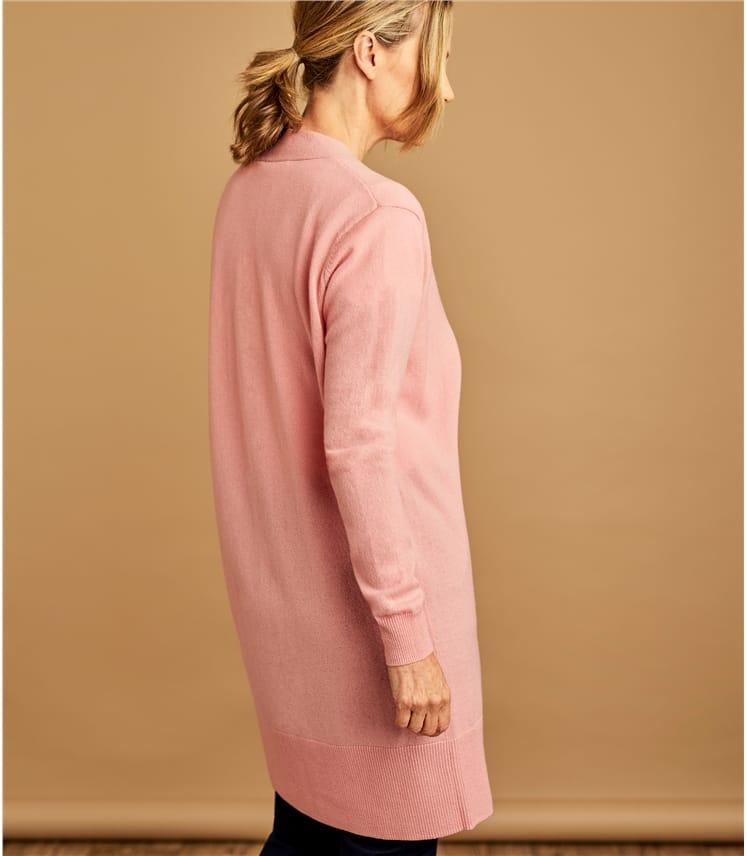 Lange, offene Strickjacke aus Merino- und Kaschmirwolle für Damen