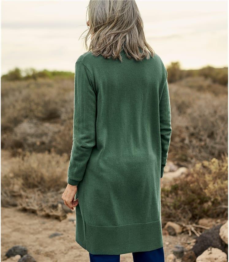 Langer, offener Strickjacke aus Merino- und Kaschmirwolle für Damen