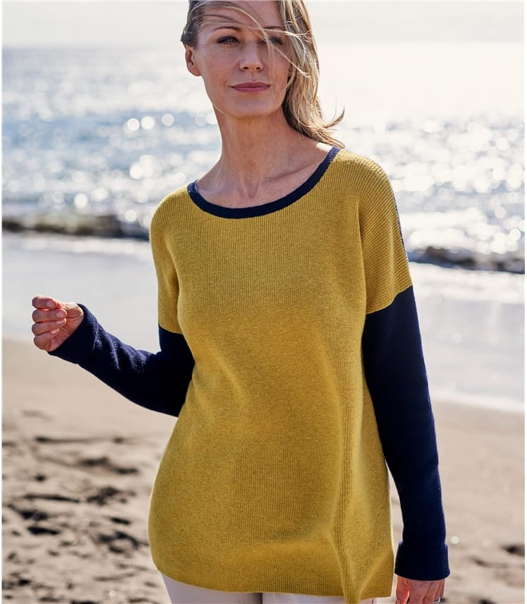 Womens Wool Blend Boat Neck Contrast Colour Jumper