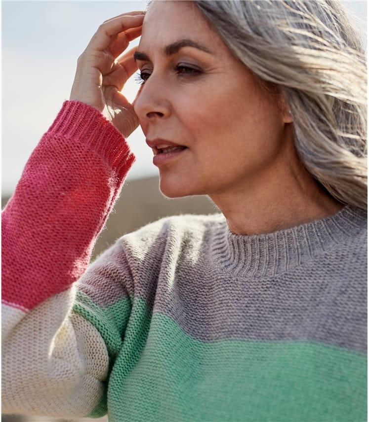 Womens Pearl Stitch Colourblock Sweater