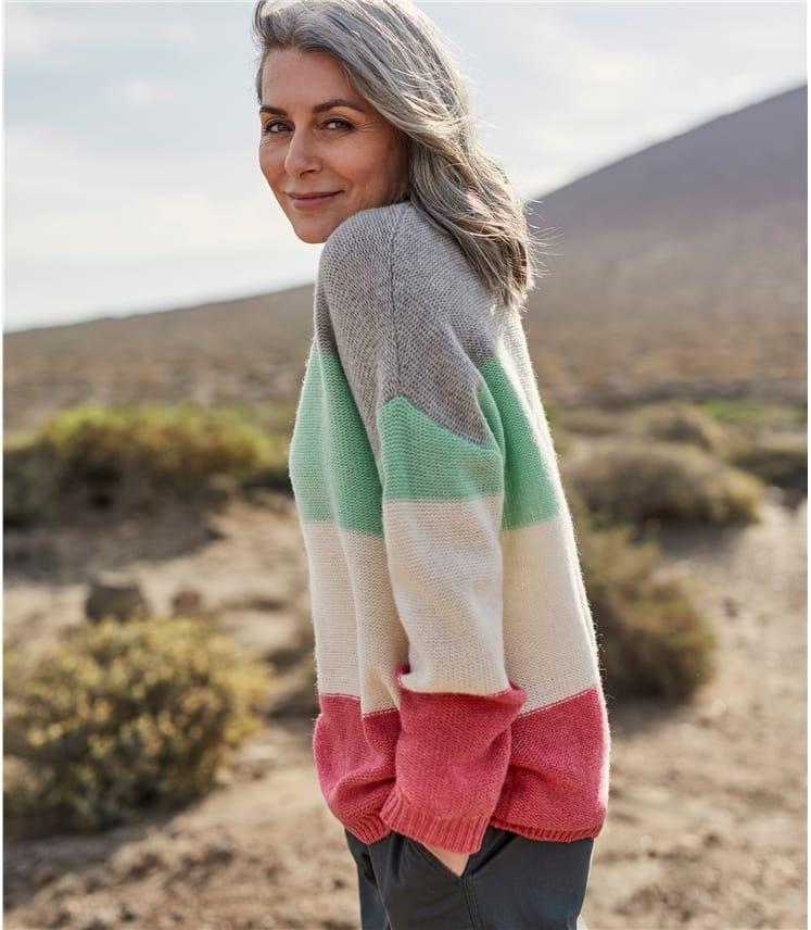 Womens Pearl Stitch Colourblock Jumper