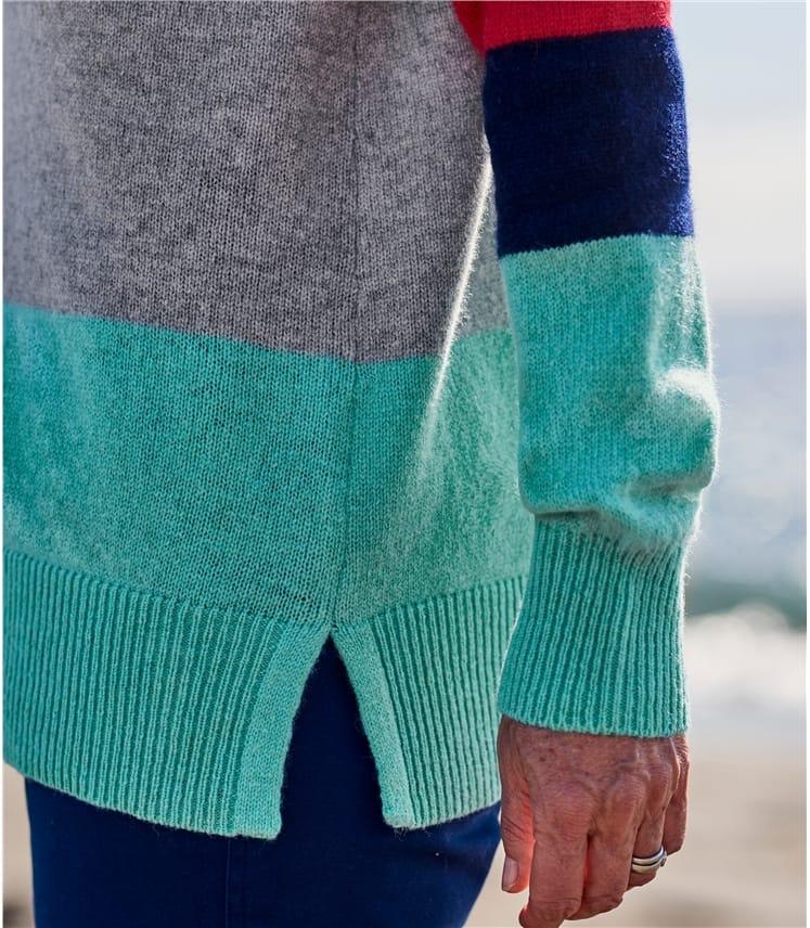 Pull colour block à poches - Femme - Pur Mérinos