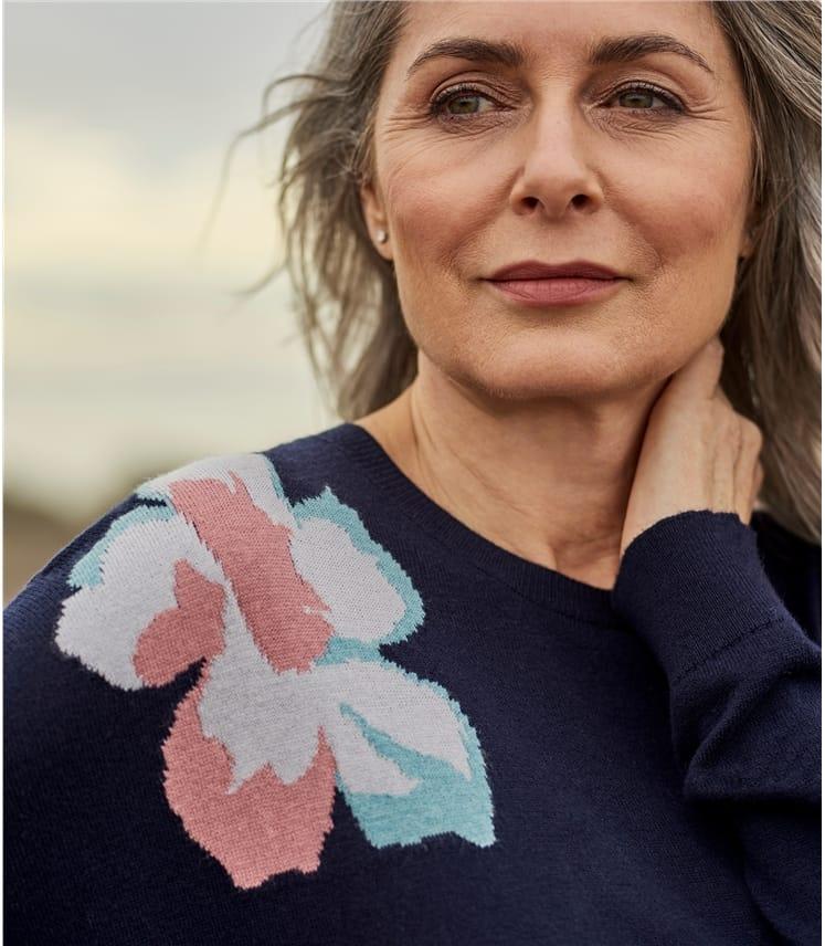 Womens Merino Blend Flower Placement Sweater