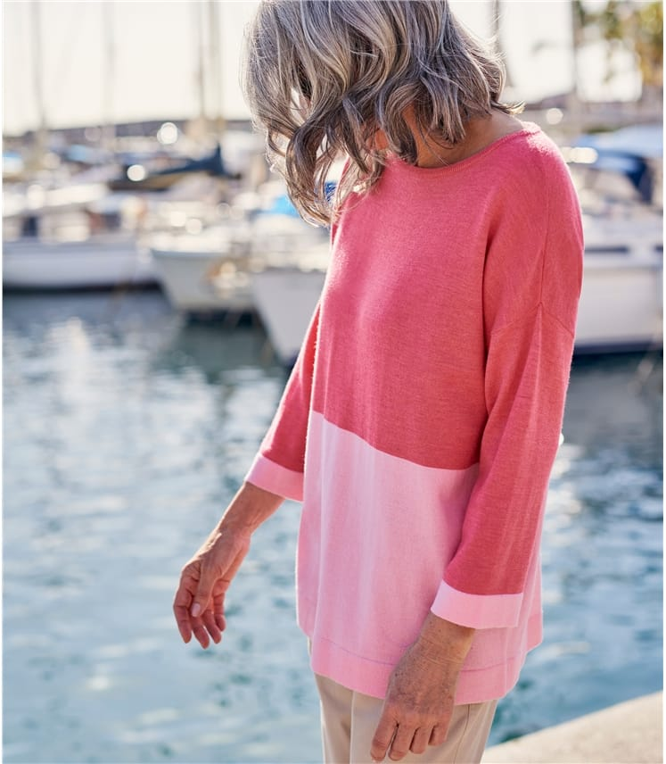 Womens Merino Boat Neck 3/4 Sleeve Jumper
