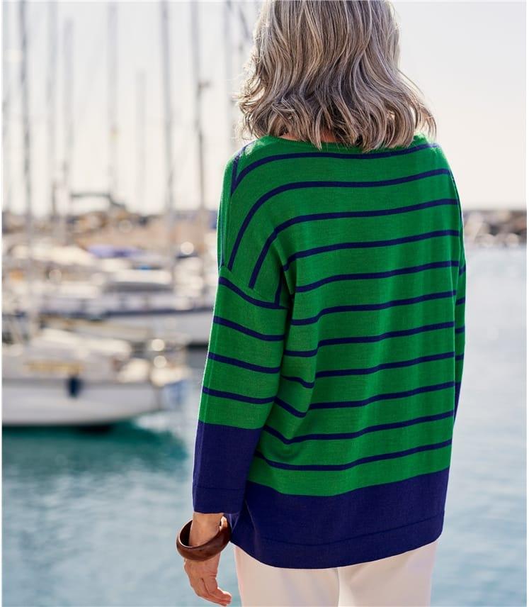 Womens Merino Boat Neck 3/4 Sleeve Jumper