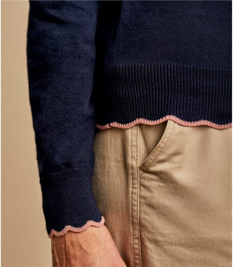 Pull à col festonné - Femme - Coton mélangé
