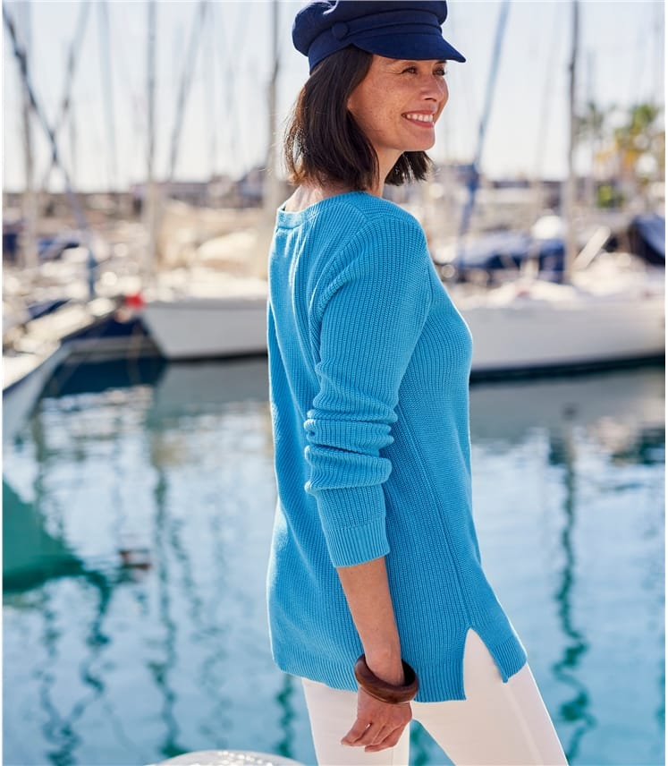 Womens Boat Neck Chevron Panel Jumper