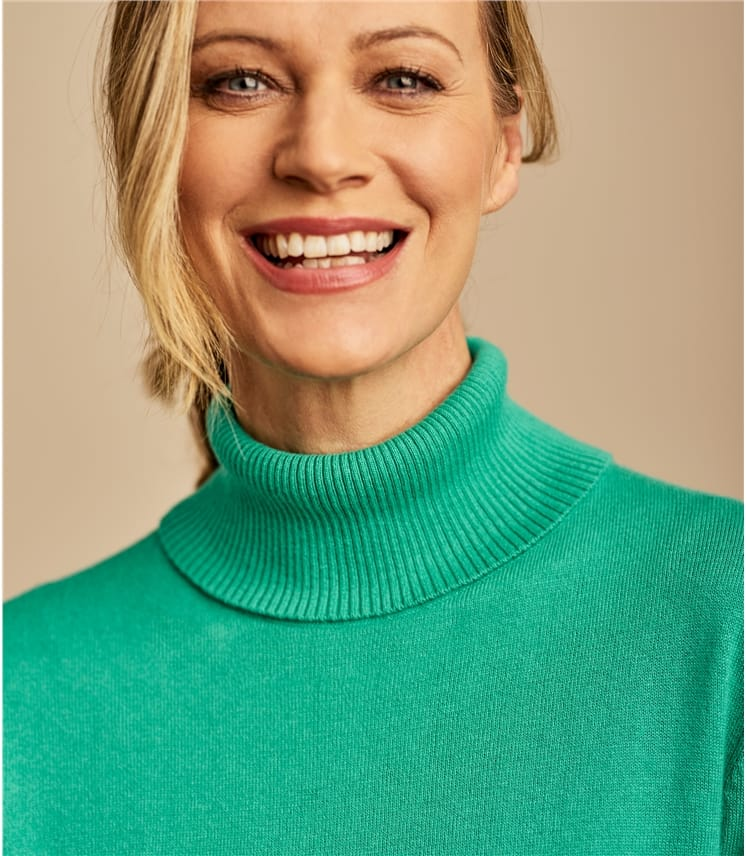 Silk and Cotton Turtle Neck Sweater