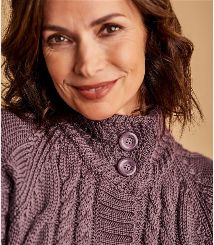 Coatigan mit Musterstrick aus reiner Wolle für Damen