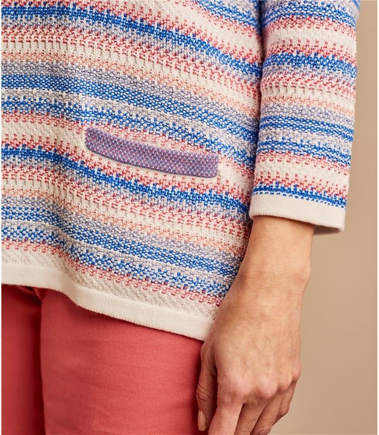 Pull à maille fantaisie - Femme - Pur Coton