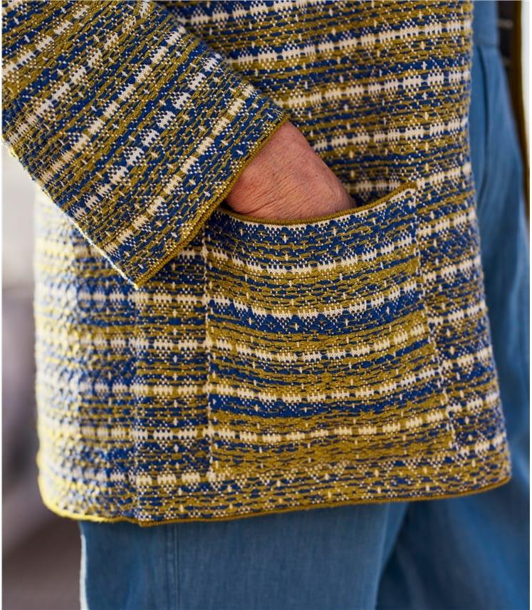 Womens Cotton Blend Kimono Edge To Edge Jaquard Cardigan