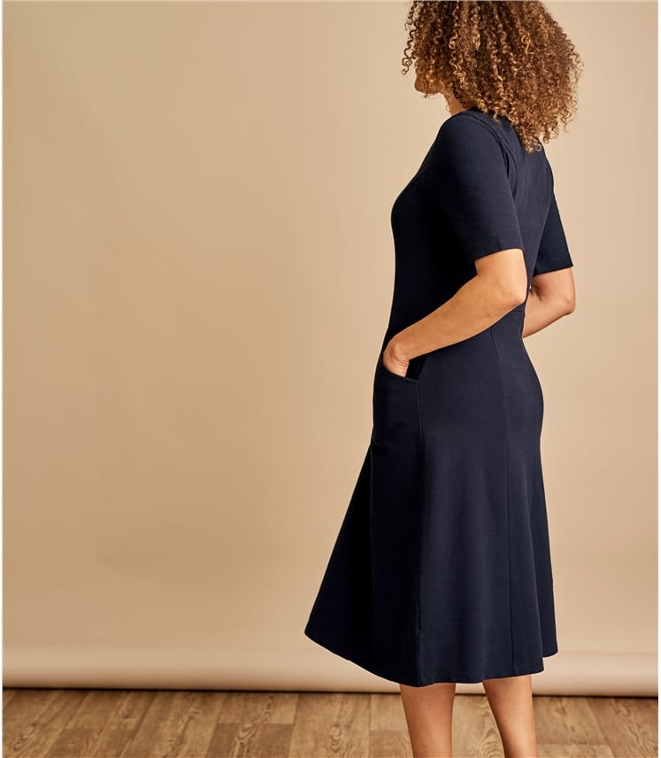 Womens Jersey Fit & Flare Dress