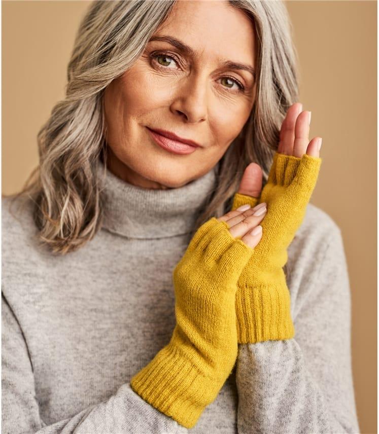 Fingerlose Handschuhe aus Lammwolle für Damen
