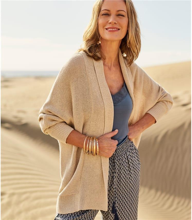 Womens Linen Relaxed Cardigan