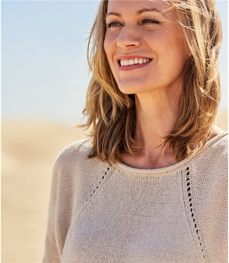 Womens Linen Boat Neck Jumper