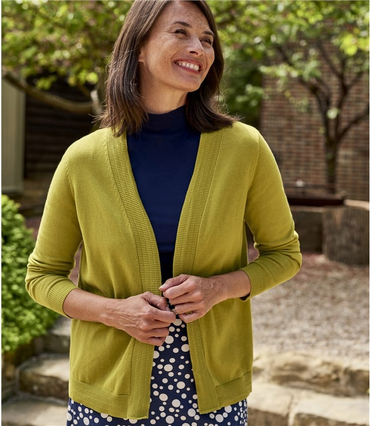 Womens 100% Organic Cotton Edge To Edge Cardigan