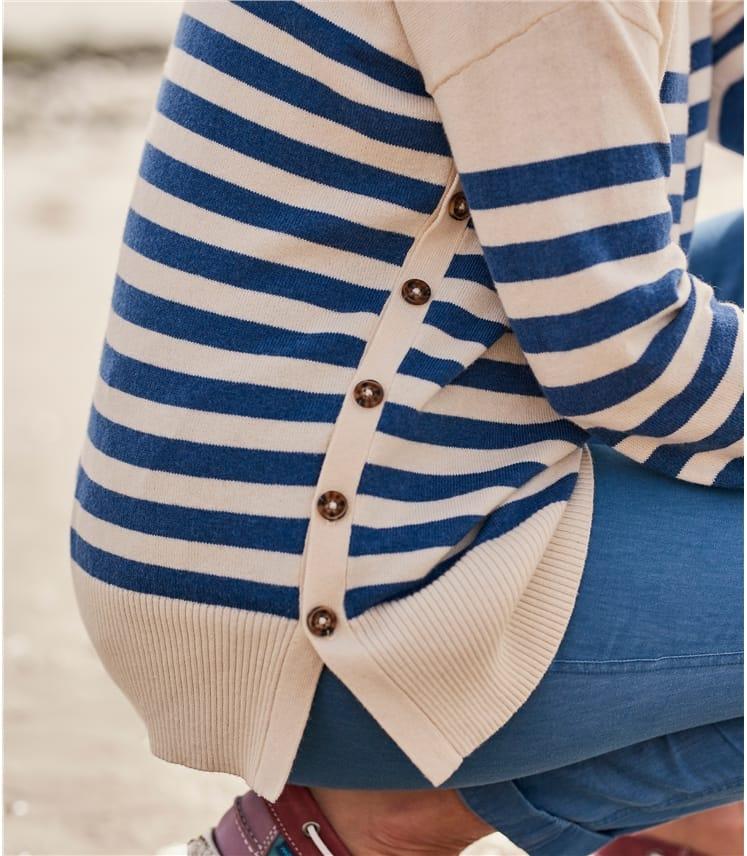 Womens Breton Stripe Dropped Shoulder Jumper