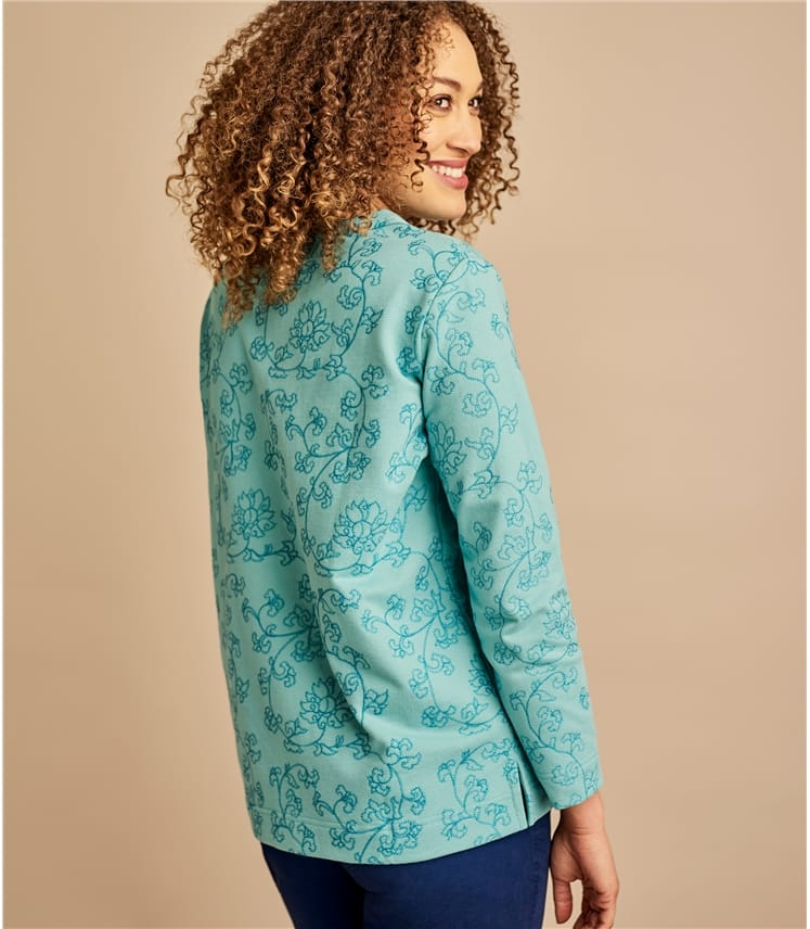 Womens Embroidered Relaxed Hem Sweatshirt