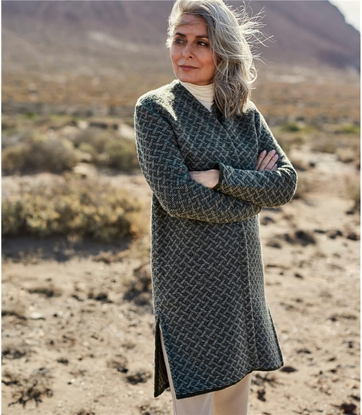 Womens Pure Wool Fancy Stitch Cardigan