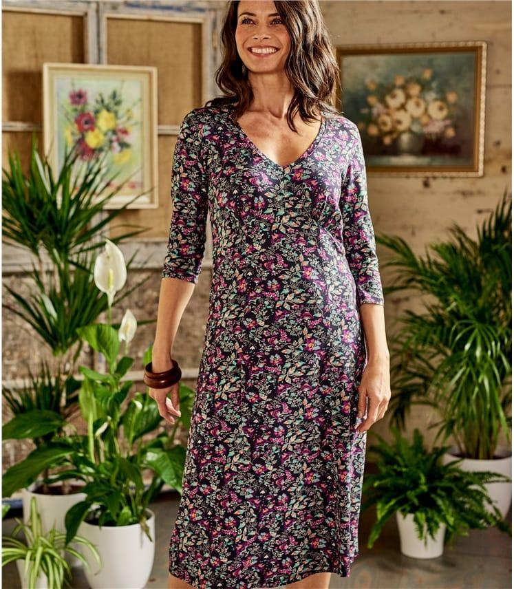 Womens Jersey Floral Tea Dress