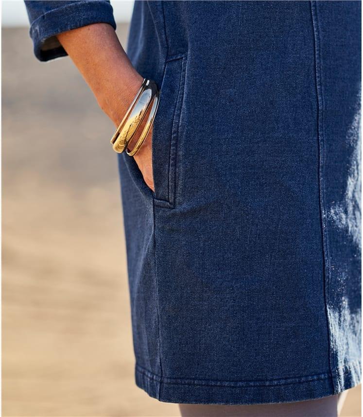 Womens Denim Look Side Pocket Tunic