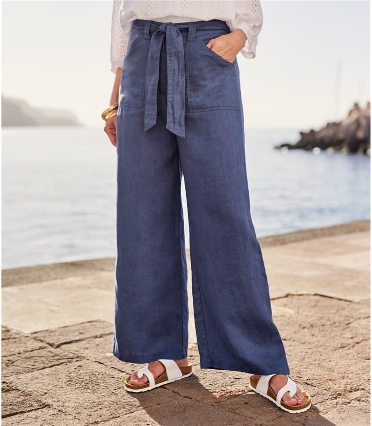 Pantalon large - Femme - Pur Lin